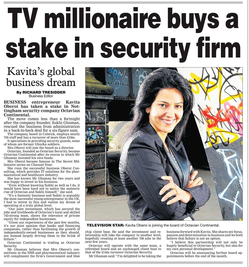 TV Millionaire buys stake in security firm