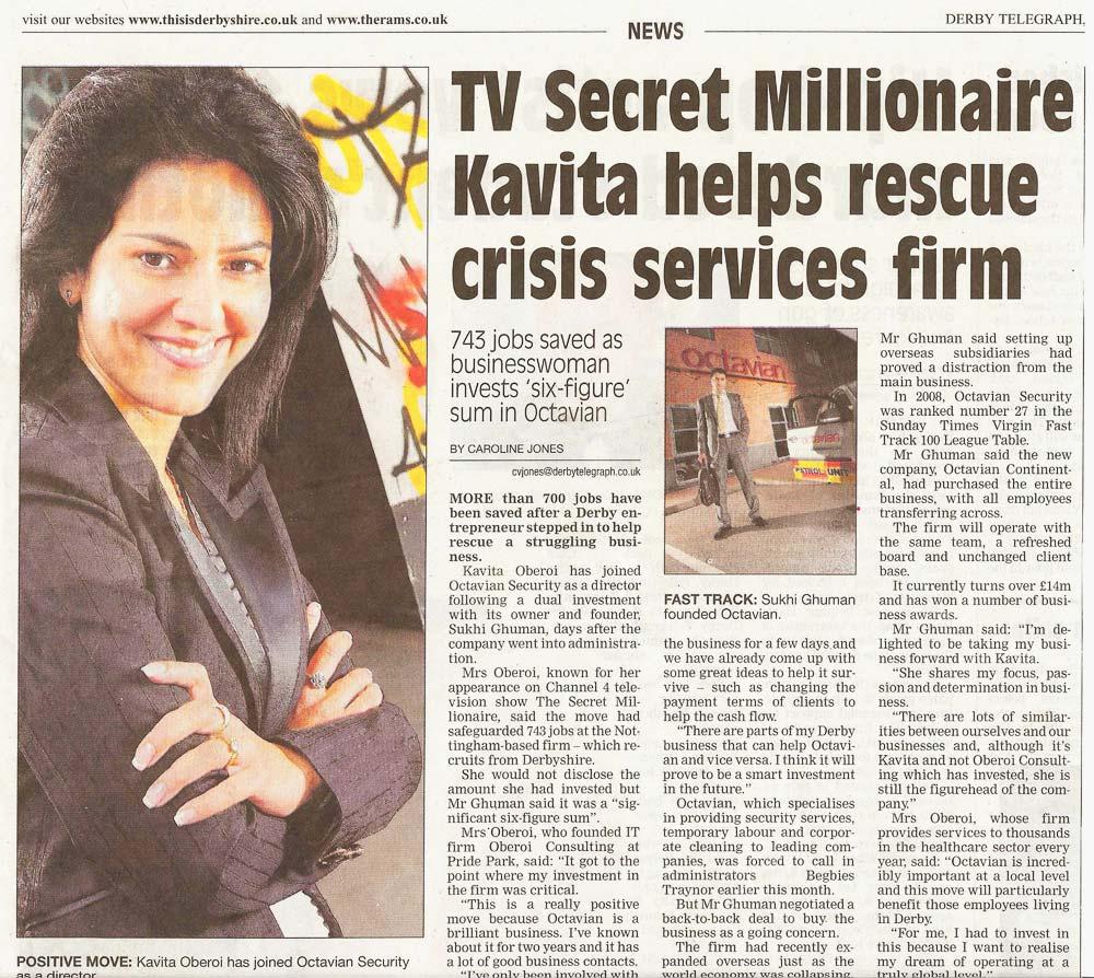 TV Secret Millionaire Kavita helps rescue crisis services firm