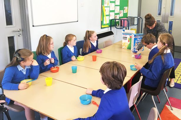 Children at Derwent Primary School's breakfast club