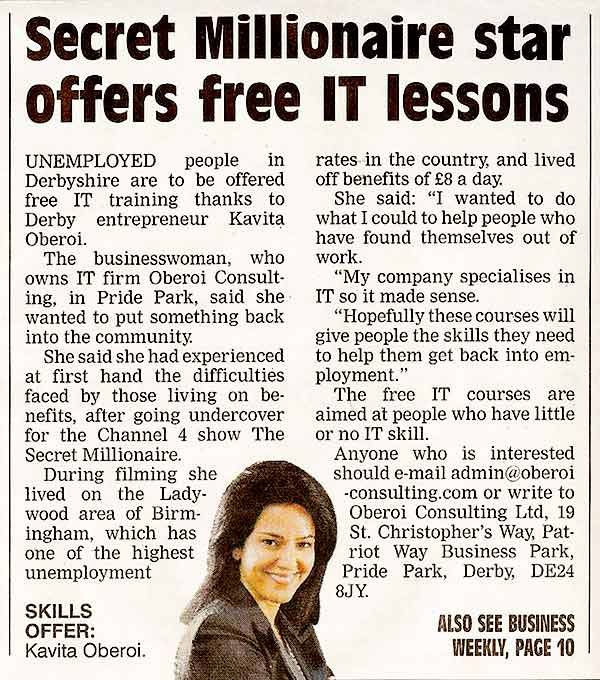Secret Millionaire Star Offers Free IT Lessons