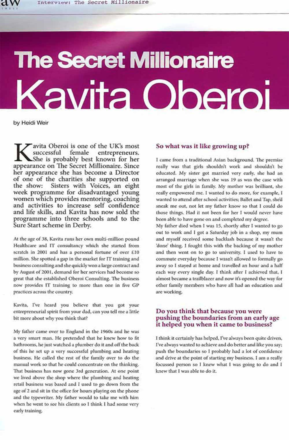 An Interview With Kavita Oberoi