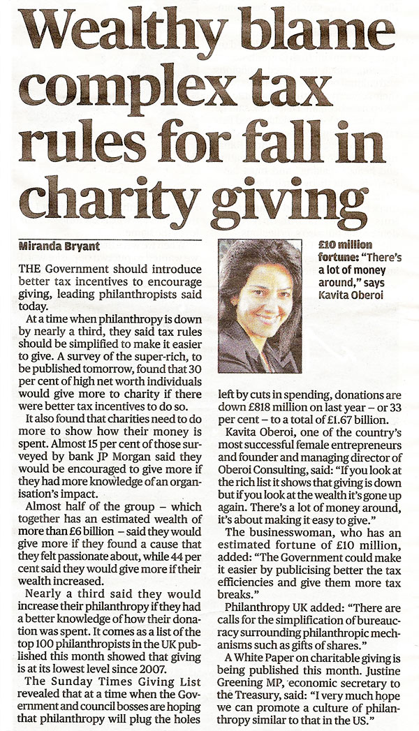 Wealthy blame complex tax rules for fall in charity giving on complex tax rules