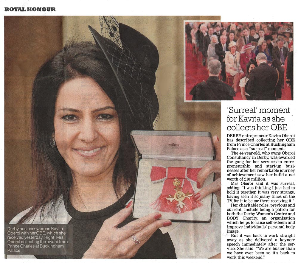 Royal Honour: 'Surreal' moment for Kavita as he collects her OBE