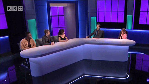 """Mo Gilligan, Matt Edmondson and Kavita on """"The Apprentice: You're Fired 2018"""" hosted by Rhod Gilbert with fired Apprentice Sarah Byrne"""