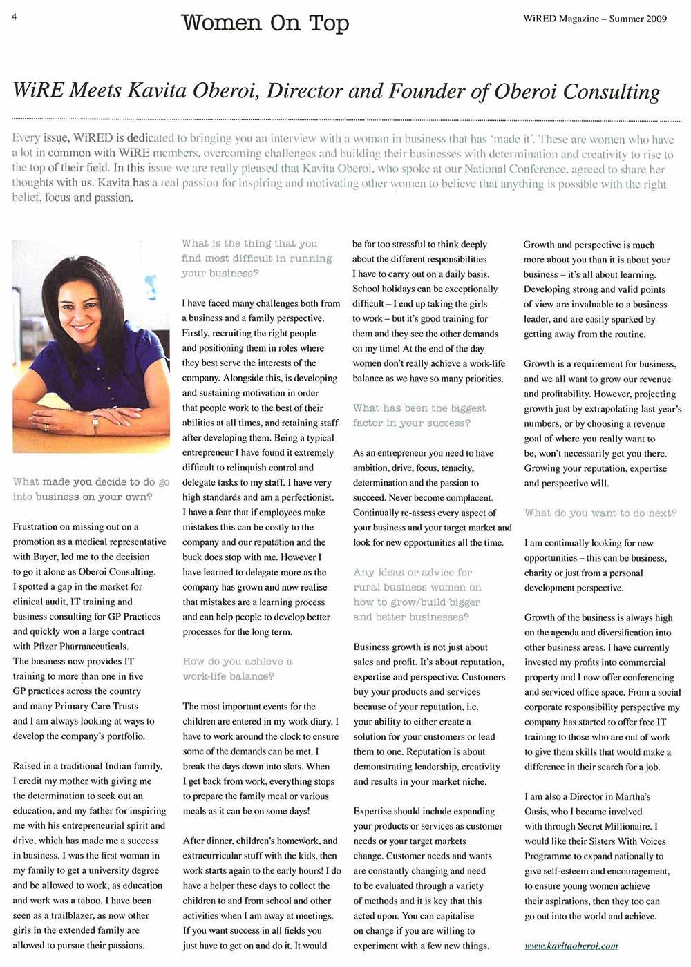 Women On Top - WiRE Meets Kavita Oberoi